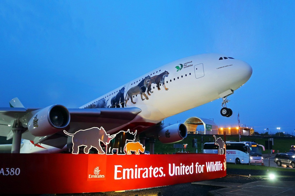 The newly unveiled Emirates United for Wildlife A380 at the high-traffic roundabout leading to London Heathrow Airport.
