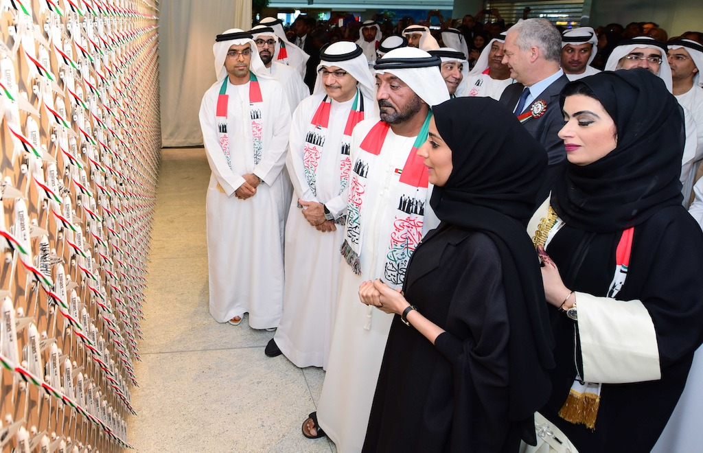 His Highness unveiled a special collage consisting of 1,400 aircraft during the UAE National Day celebrations at EGHQ